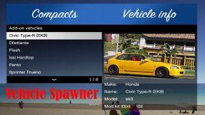 افزونه Vehicle Spawner برای GTA V